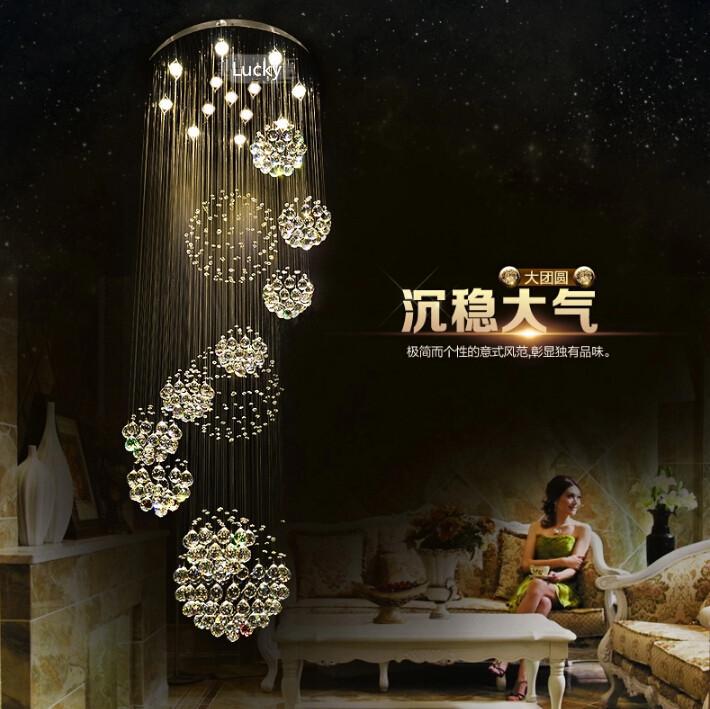 modern chandelier large el lighting d80h200cm lustre crystal stair lights guarantee banner5 stair lighting