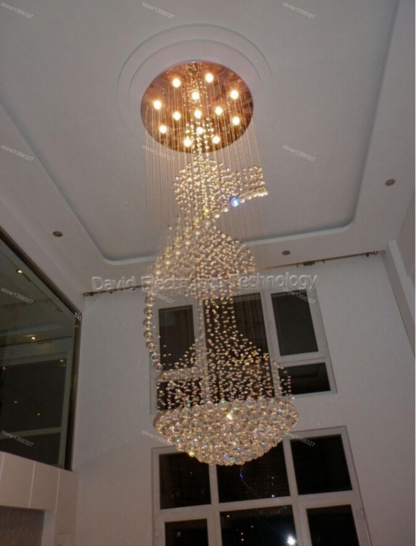 Led Foyer Lighting : Modern led long big spiral staircase crystal chandeliers