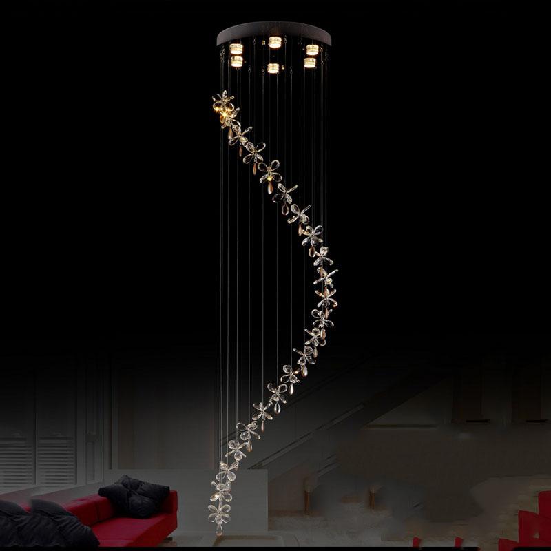 Lighting Basement Washroom Stairs: Modern Long Stair Light K9 Lustre Led Crystal Chandelier
