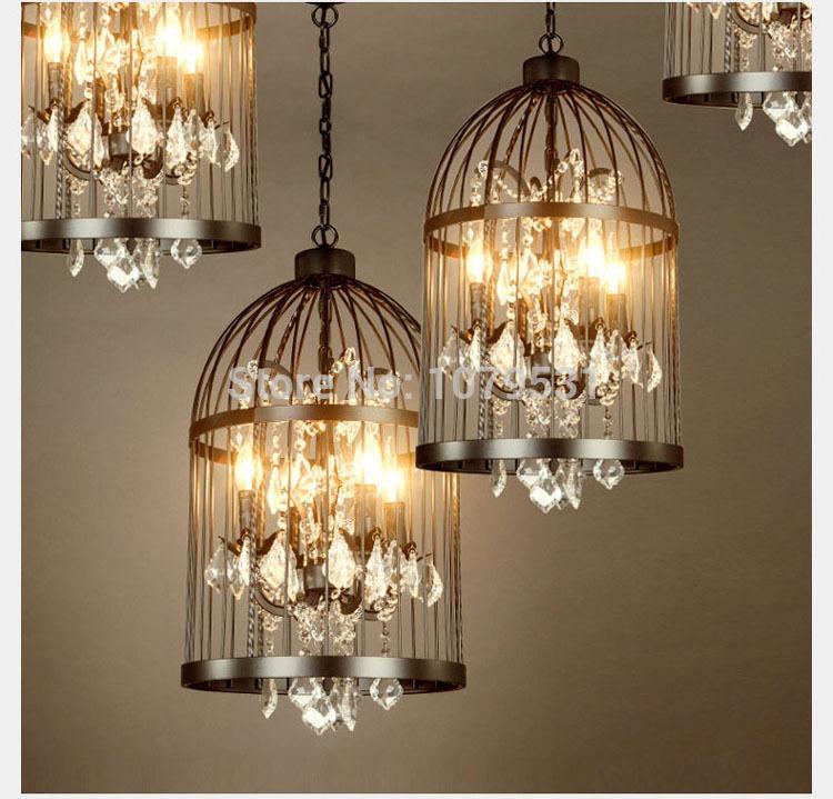 35/45cm Nordic Birdcage Crystal Pendant Lights Iron Cage