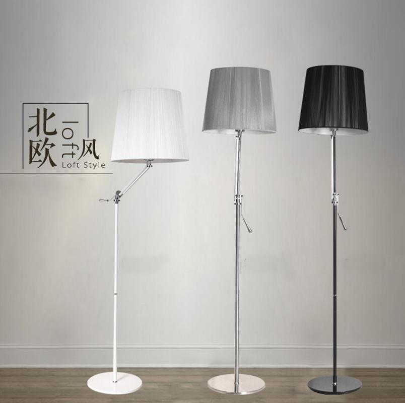 Silver Floor Lamp Living Room : Adjustable swing arm floor lamp living room bed rocker light v black white