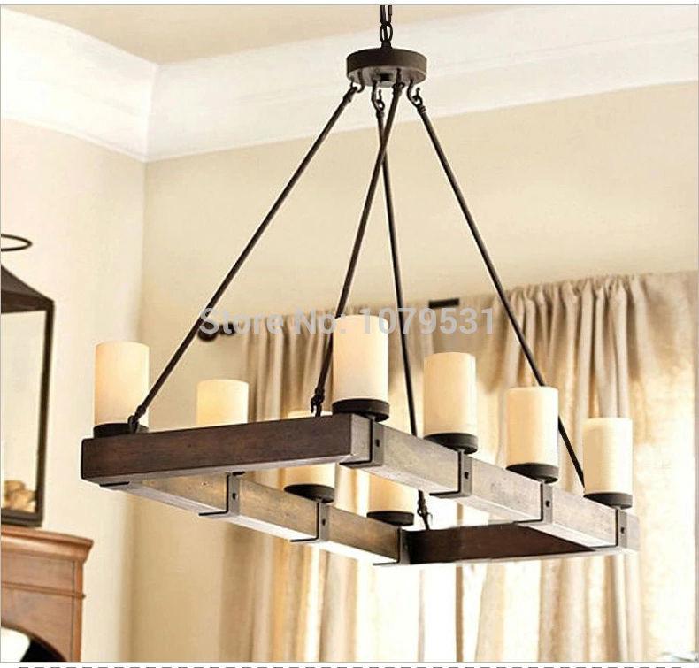 American Country Industry Retro Living Room Lamps Rectangular Wood Restaurant Droplight El Engineering Antique Lighting