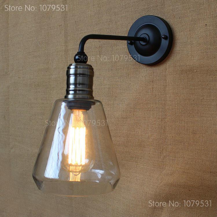 Industrial vintage wall lamp american rustic sconce glass - Lampara industrial vintage ...