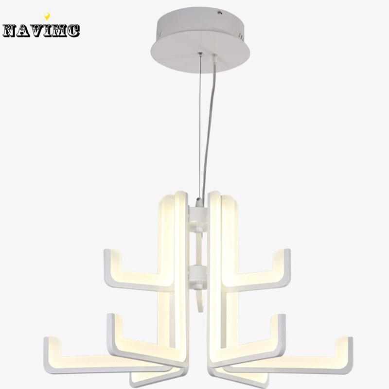 Led Acrylic Chandelier Light Fixture Modern White Led