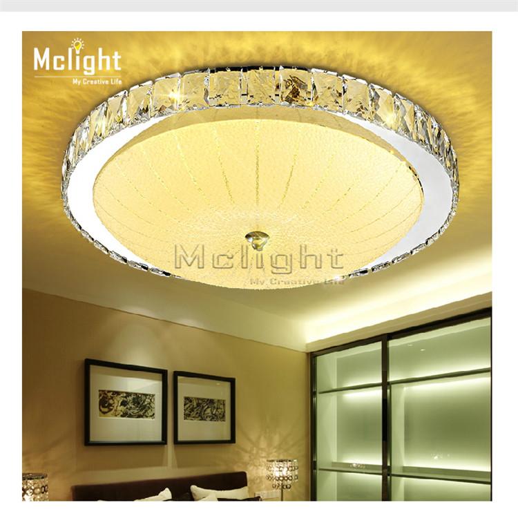 led flush mount round crystal ceiling lights fixture for living room