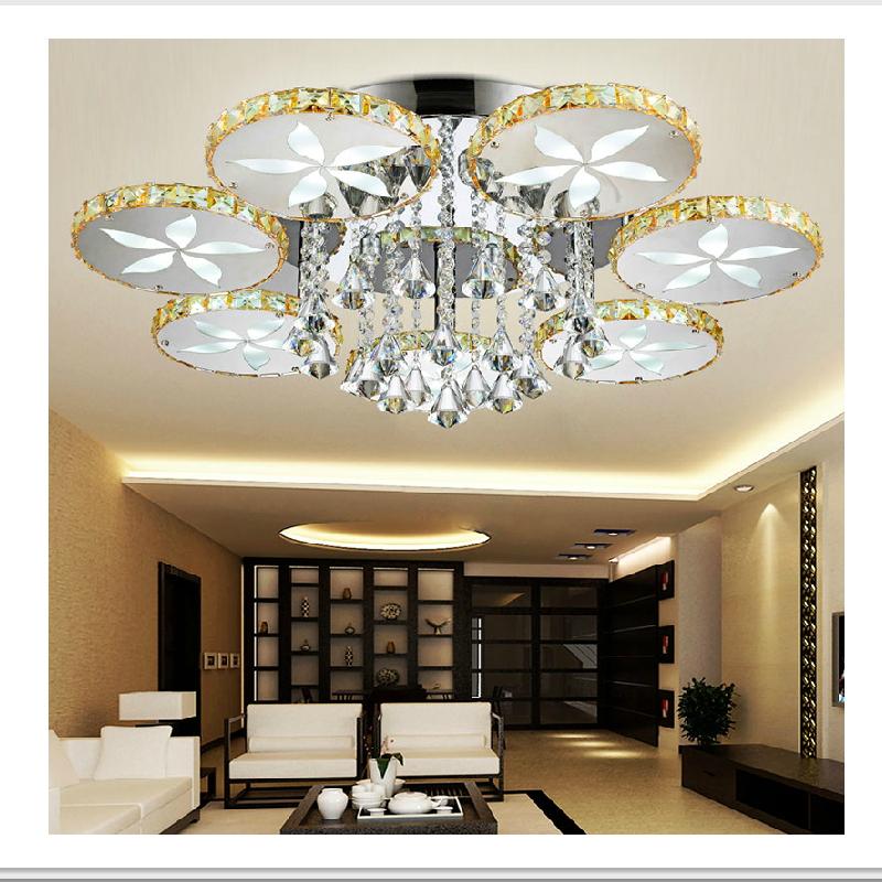 Luxury Led Flush Mount Round Flower Crystal Ceiling Lights