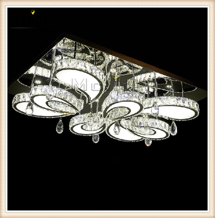 Modern Led Flush Mount Rectangular Crystal Ceiling Lights