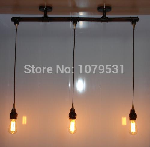 Vintage Loft Chandelier 3 Light Water Pipe Edison Bulbs Pendant Lamp For Dining Bar Lights 7488